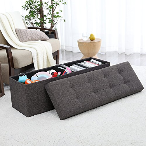 "Ellington Home Foldable Tufted Linen Large Storage Ottoman Bench Foot Rest Stool/Seat - 15"" x 45"" x 15"" (Charcoal)"