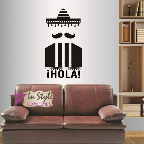 Wall Vinyl Decal Home Decor Art Sticker Silhouette Sign Hipster Hola Mustache Mexican Man Postcard Room Removable Stylish Mural Unique Design For Any Room Creative Design Logo - Logo With Guy Mustache