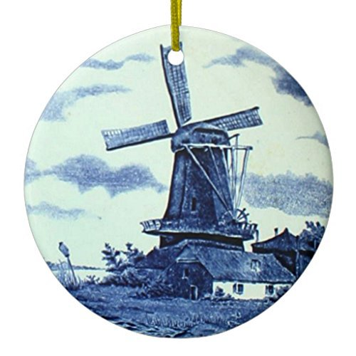 PollyHoyle Christmas Hanging Ornament Vintage Antique Delft Blue Tile - Windmill Ceramic Ornament Circle
