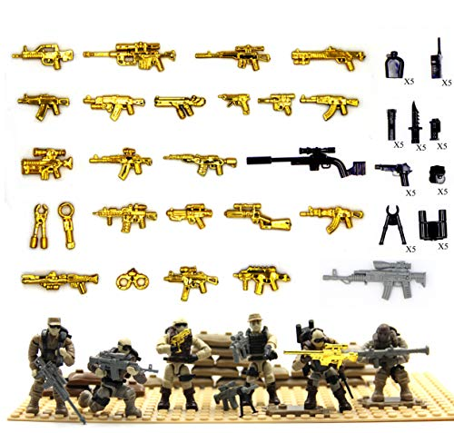 Call of Duty Dessert Soldier Action Figure and Weapon Tools Compatible with Major Brand Building Set