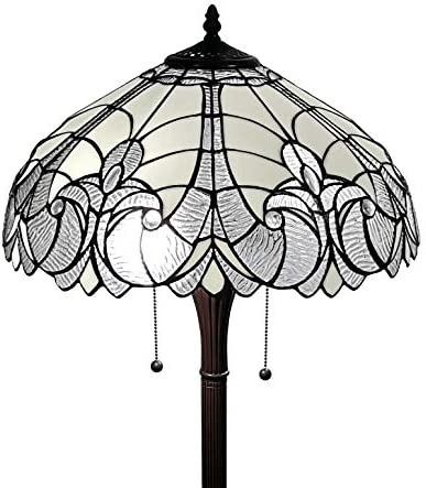 Tiffany Style Floor Lamp Jagged Edge Floral Standing 62 Tall Stained Glass White Grey Mahogany Antique Vintage Baroque Light Decor Bedroom Living Room Reading Gift AM205FL18B Amora Lighting
