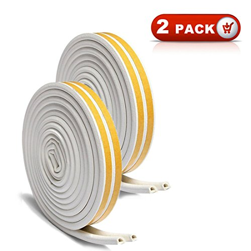 33Ft Long Insulation Weatherproof Doors And Windows Soundproofing Seal Strip Collision Avoidance Rubber Self-Adhesive Weatherstrip ( Total 2 Pack White)