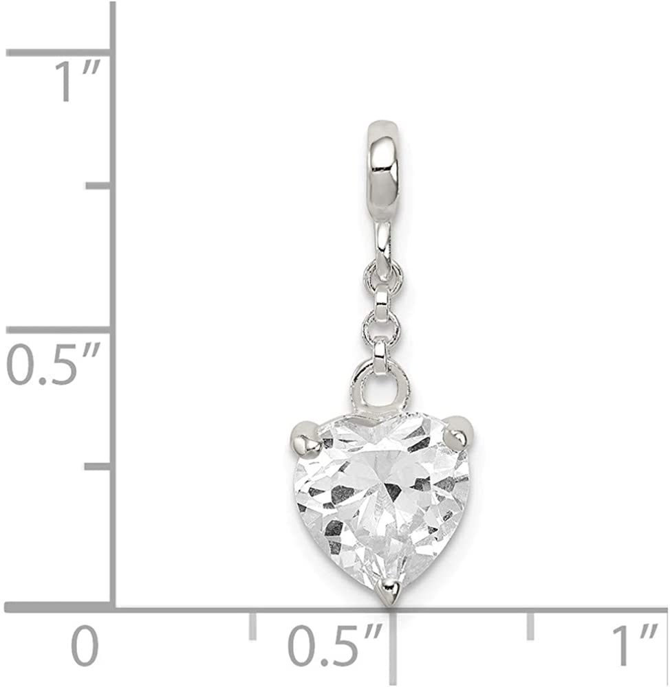 FB Jewels Solid 925 Sterling Silver Clear Cubic Zirconia CZ Heart 1 2In Dangle Enhancer