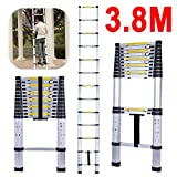 Vlio 3.8M 12.5 Feet Telescopic Ladder DIY Aluminum Alloy Folding Extendable Extension Ladder for Home Office Loft Use