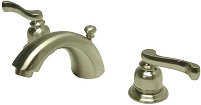Kingston Brass Kb8958fl Royale Widespread Mini Bathroom Faucet With Brass Pop Up Drain 4 1 2 Inch Brushed Nickel Touch On Bathroom Sink Faucets