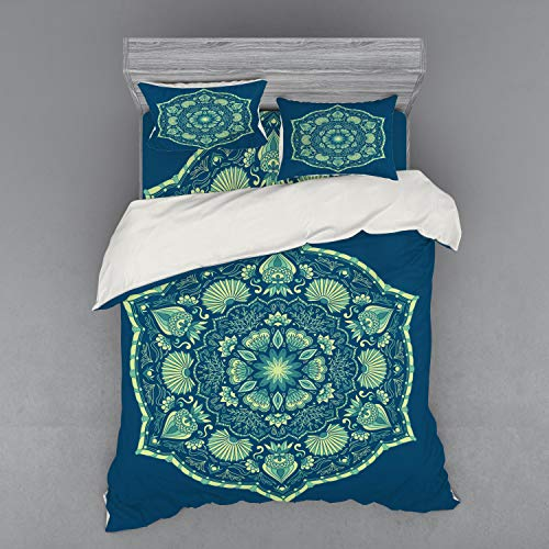 Lunarable Floral Bedding Set, Victorian Design Inspirations Ornate Petals and Foliage Illustration, 4 Piece Duvet Cover Set with Shams and Fitted Sheet, Queen Size, Cobalt Blue and Pale Green