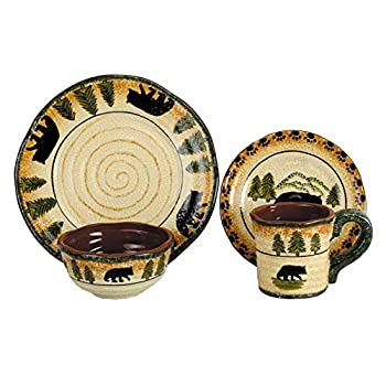 Image of Dinnerware Sets Black Forest Décor Black Bear Forest Dinnerware Set - 16 pcs - Cabin Dining Decor