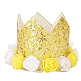 number charms decorative - Crown Number Birthday Hat for Baby Reusable Birthday Party Kitten Headband Hats with 19 Figures Charms Grooming Accessories for Aged Children Pack of 1