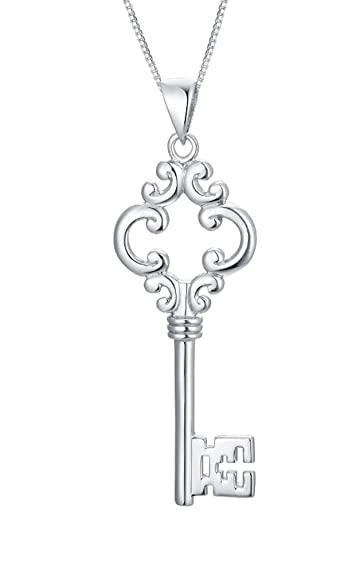 Sterling silver key pendant necklace s3y007n1 amazon jewellery sterling silver key pendant necklace s3y007n1 mozeypictures Images