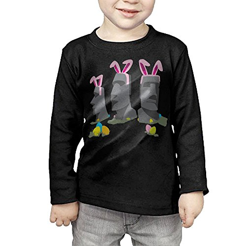 ZheuO Boys & Girls Toddler Easter Island Soft and Cozy 100% Cotton T-Shirts Unisex Black 3 Toddler