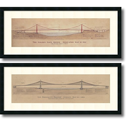 Framed Art Print, 'Golden Gate Bridge, Brooklyn Bridge- set of 2' by Craig S. Holmes: Outer Size 40 x 17