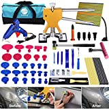 YOOHE 59 PCS Auto Body Paintless Dent Repair Tool Kits – Gold Dent Lifter Dent Puller Kit with LED Light Line Board for Car Dent Removal and Hail Damage