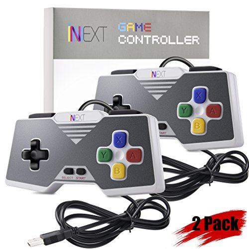 iNNEXT SNES USB Controller Gamepad Joystick, USB PC Controller Joypad Gamestick Controller Windows PC MAC Raspberry Pi (Pack of 2)