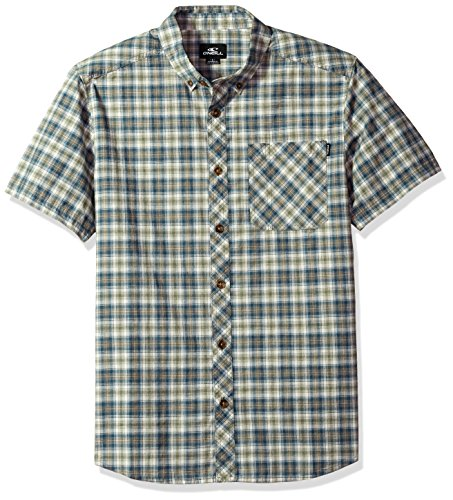 - O'Neill Men's Casual Modern Fit Short Sleeve Woven Button Down Shirt, Army Green/Fitz, S