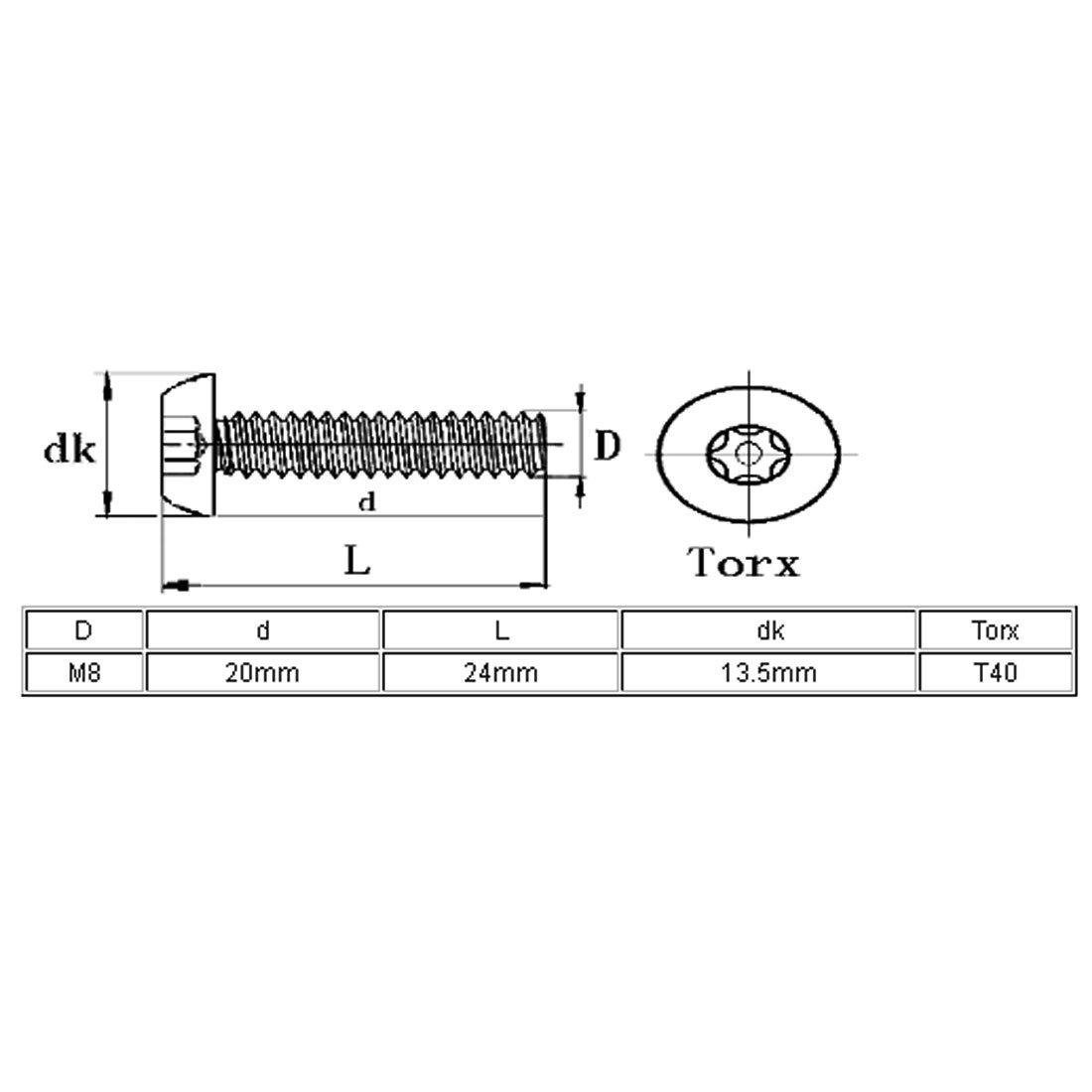sourcingmap/® M8x20mm 304 Cabeza de bot/ón de acero inoxidable tornillos de m/áquina de seguridad Torx 10pcs
