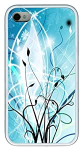 iPhone 4S Case,Abstract Vector Vines TPU Custom iPhone 4/4S Case Cover Whtie
