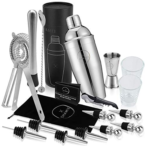 19-Piece Exclusive Cocktail Shaker Set and Bartender Kit With Tote, Shot Glasses, Cocktail Booklet - Home Bar Accessories Decor and Bar Set Includes 24oz Martini Shaker, Marked Jigger, Other Bar Tools ()