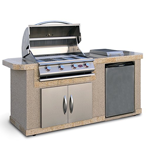 Cal Flame Outdoor Kitchen Island LBK-701-A with 4-Burner Built in Grill, 30