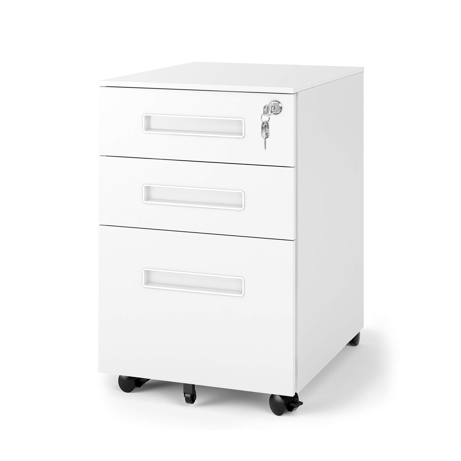 DEVAISE 3-Drawer Mobile Pedestal File Cabinet with Lock, Legal/Letter Size, White by DEVAISE