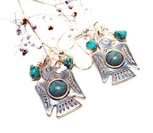 (Southwestern/Native American Silver-toned Thunderbird Earrings with Turquoise Accents)