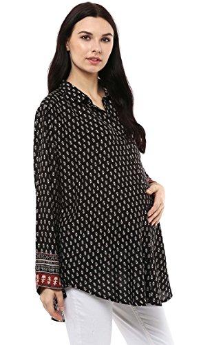 Wobbly Walk Camisa de algodón hecho a mano Rayón Impreso completa mangas de maternidad Negro