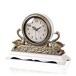 HAOFAY Retro Mantel / Mantle Rhythm Quartz Clock Living Room Desk Shelf Clocks ( Color : White )