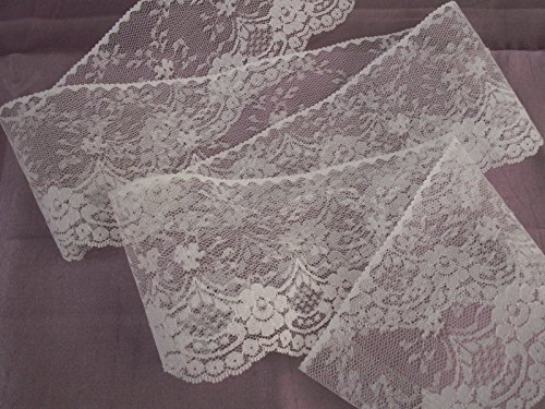 5 YARDS 4 inches Wide Vintage Floral Embroidered White Flat Lace Trim Invitations Sachets Wedding DIY Making Handcraft Sewing Craft Projects (Lace Sachet)
