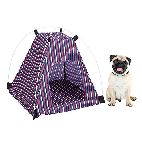 ing Tent House Foldable Bed Durable Cute Stripe Pattern Cave ()