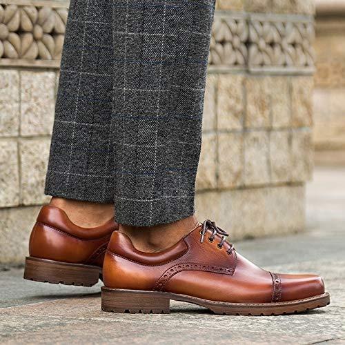 in Size Scarpe vera Scarpe Scarpe inglese EU Black pelle uomo 39 oxford fibbia Brown con stile da pelle in stringate brogue per uomo Color XZP Iq4A1