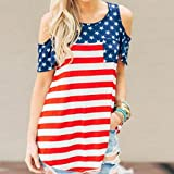 Auwer Clearance ! Women's Print American Flag Blouse, Sexy Cold Shoulder Short Sleeve Tank Crop Tops Blouse T-Shirt Independence Day Apparel (M, Red)