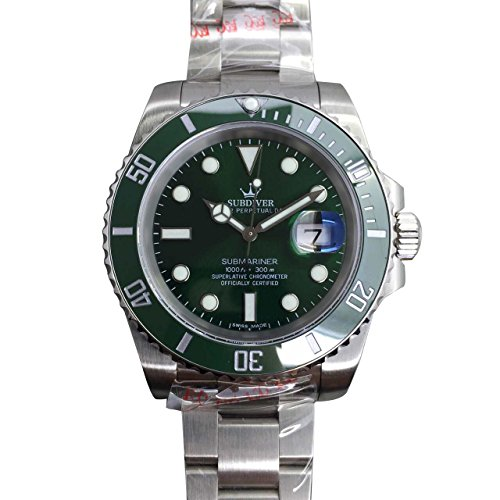 Dial Green Bezel (Super Luxury Submariner 007 Mens Nobiliary Wrist Automatic Watch 40mm Cerachrom rotatable Bezel Case Green Dial 116610LV)