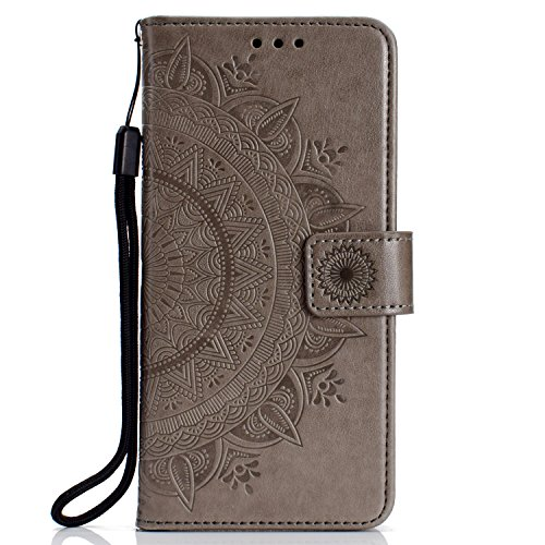 IKASEFU Emboss Floral Totem Pu Leather Wallet Strap Case Card Slots Shockproof Magnetic Kickstand Folio Flip Book Cover Protective Case Compatible with Nokia 7 Plus,gray