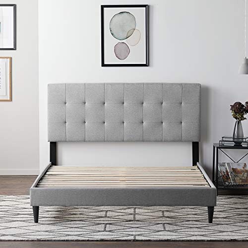 LUCID Upholstered Bed with�Square Tufted�Headboard�-Linen Inspired Fabric -Sturdy Wood Build -No Box Spring Required Platform, Queen, Stone