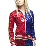 Ladies Red Blue PVC Wet Look Zipper Jacket Womens Long Sleeve Fancy Party Coat X Large
