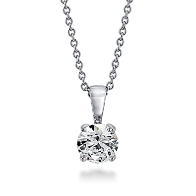 e73d2dc56 Image Unavailable. Image not available for. Color: BERRICLE Rhodium Plated Sterling  Silver Cubic Zirconia CZ Solitaire Pendant Necklace ...