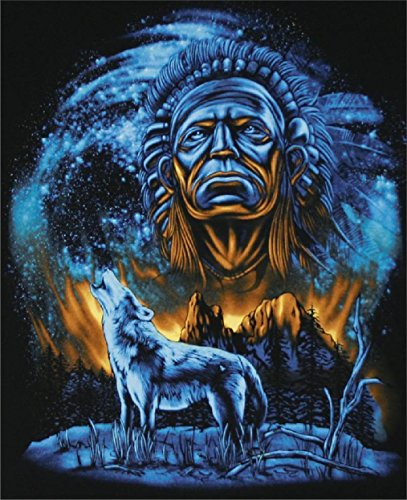 [Howling Wolf W Indian Spirt Moon Black Tee Shirt Size Xl Adult T264 Tshirt New] (Indian Wolf Headdress Costume)