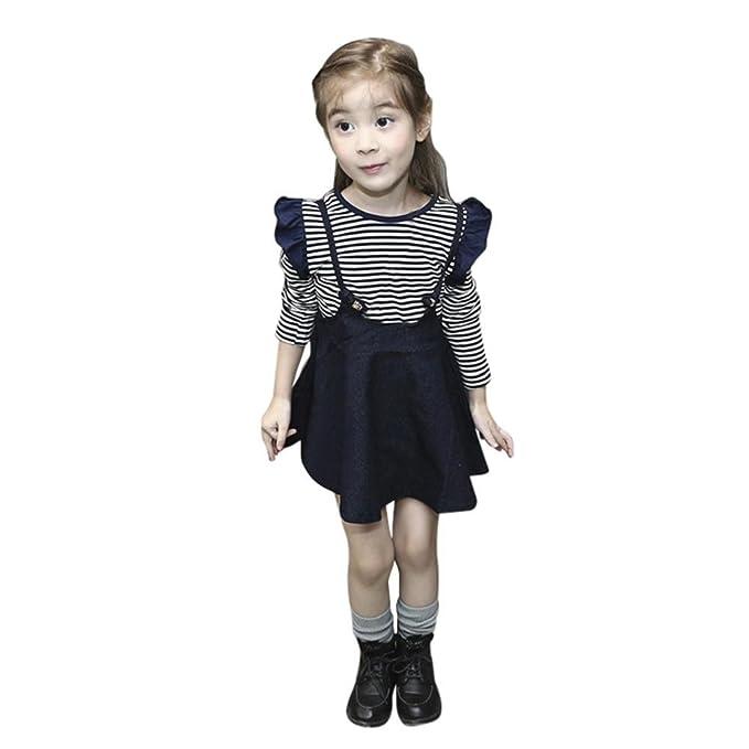 QUICKLYLY 2PCS Vestidos para Bebés Niña Mezclilla Invierno Fiesta Camisetas Manga Larga Raya Tops (18