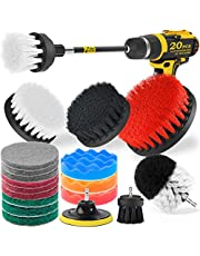 Holikme 20Piece Drill Brush Attachments Set, Scrub Pads & Sponge,Buffing Pads, Power Scrubber Brush with Extend Long Attachment, Car Polishing Pad Kit