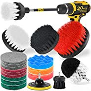 Holikme 15Piece Drill Brush Attachments Set, Scrub Pads & Sponge,Buffing Pads,Power Scrubber Brush with Ex