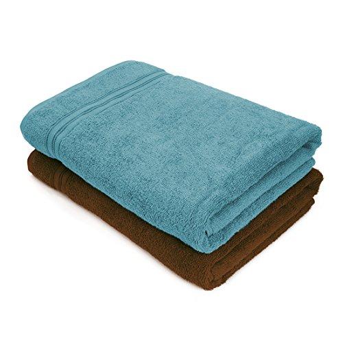 Essential Plus Set of 2 Bath Towel(Grey/Dark Brown)