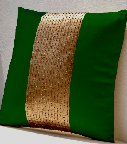 Amore Beaute Handmade Throw Pillows- Green Gold Color Block in Art Silk with Sequin Bead Detail Cushion Covers- Sequin Pillow Covers- Emerald Green Pillow Cover - Gold Sequin Pillows - ()