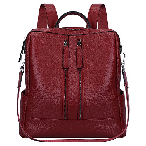 S-ZONE Women Genuine Leather Backpack Casual Shoulder Bag Purse Medium (Wine Red)