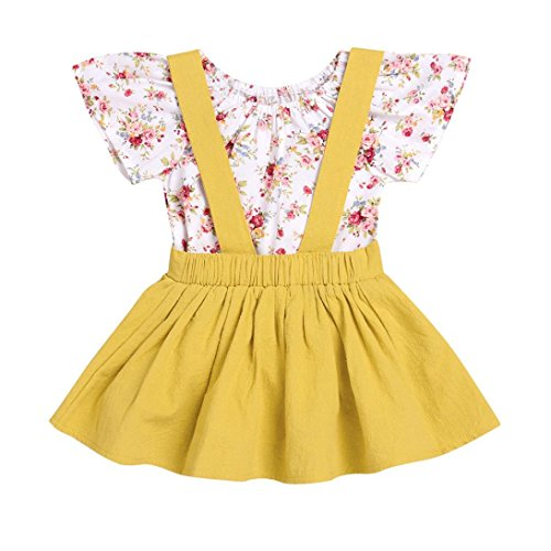 Kehen Infant Baby Girls Floral Short Sleeve Rompers + Solid Suspender Skirt Braces Dress Overalls (Yellow, 12-18 Months)