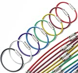 Mini Skater 8PCS 2mm X 4 Inches Assorted Colored Durable Stainless Steel Wire Keychain Key Ring Cable Ring