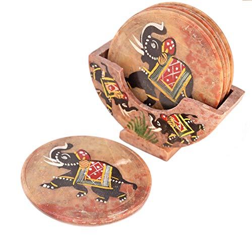 Purpledip Stone Coaster Set With Folk Artist Painting; Unique Indian Gift Memorabilia Souvenir (10594) ()