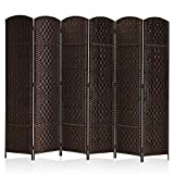 Rose Home Fashion RHF 6 ft.Tall-15.7' Wide Diamond Weave Fiber 6 Panels Room Divider/6 Panels Screen Folding Privacy Partition Wall Room Divider...