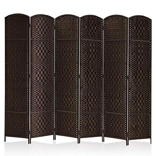 "Rose Home Fashion RHF 6 ft.Tall-15.7"" Wide Diamond Weave Fiber 6 Panels Room Divider/6 Panels Screen Folding Privacy Partition Wall Room Divider Freestanding 6 Panel Dark Coffee"