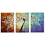 Amazon Price History for:Amoy Art- Hand Painted Knife Modern Canvas Wall Art Floral Oil Painting for Home Decor 12x16inch 3pcs/set Stretched and Framed Ready to Hang