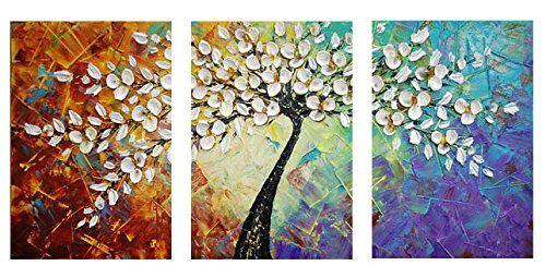Amazon Com Amoy Art Hand Painted Knife Modern Canvas Wall Art Floral Oil Painting For Home Decor 12x16inch 3pcs Set Stretched And Framed Ready To Hang
