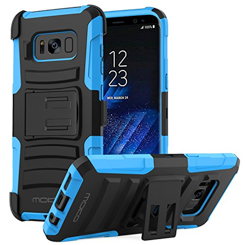 Galaxy S8 Plus Case, MoKo Shock Absorbing Hard Cover Ultra Protective Heavy Duty Case with Holster Belt Clip + Built-in Kickstand for Samsung Galaxy S8 Plus - Blue